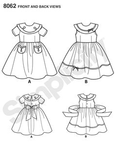 Vintage dress for toddler and child. Dress A has contrast collar and pockets with soutache trim, Dress B and C with contrast at collar and skirt edge, finish with delicate touches of trim. All have sash bow-tie in back. Kwik Sew Patterns, Simplicity Sewing Patterns, Pattern Sewing, Baby Girl Dresses, Baby Dress, Children Sketch, Hello Kitty Collection, Dress Sketches, Vintage 1950s Dresses