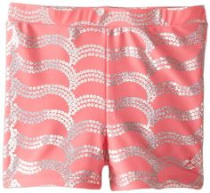Danskin Big Girls' Sparkle Short, Camellia Rose, Medium/Large. Sparkle design is fused to the fabric and will not come off through normal use. Bike short styling with 2 inch inseam.