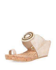 Donald J Pliner Gaya Toe-Ring Wedge Sandal, Platino, Women's, Size: 38B/8B