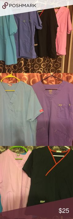 Scrub Tops Nurses Scrub Tops ALL Lg.  Blue Iguana Med, turquoise Dickies, Pink Dickies, Black Urbane.  Great for Nurses/medical.  Check out my closet for more Scrubs Tops