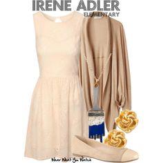 Inspired by Natalie Dormer as Irene Adler on Elementary. Sherlock And Irene, Sherlock Holmes, Character Inspired Outfits, Fandom Fashion, Irene Adler, Work Fashion, Clothing Items, Fashion Dresses, Natalie Dormer