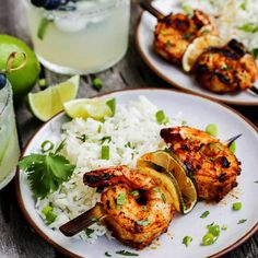 Margarita Grilled Shrimp Skewers are loaded with flavor & charred to perfection. An easy grilled shrimp recipe that'll be the star of your summer grilling! Jerk Shrimp, Shrimp Marinade, Grilled Shrimp Skewers, Grilled Shrimp Recipes, Seafood Recipes, Grilling Shrimp, Shrimp Meals, Grilled Food, Kebab Recipes