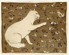 Cat, Birds & Music Notes, Ex libris Etching by S. Kazimov, Russia