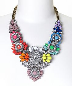 Look what I found on #zulily! Rainbow Flower Crystal Statement Bib Necklace by Sorta Southern Boutique #zulilyfinds