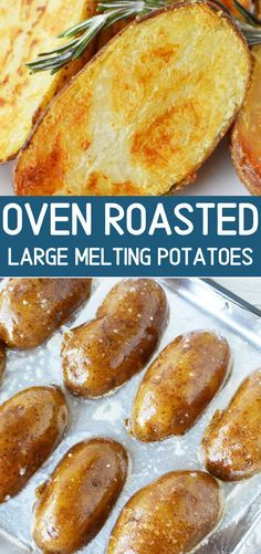 Oven Roasted Large Melting Potatoes with a Crispy shell and soft center, a perfect potato side dish that is hearty, filling, and compliments any meal sidedish potato meltingpotatoes recipe ovenroasted 255579347595253451 Potato Sides, Potato Side Dishes, Vegetable Dishes, Easy Side Dishes, Main Dishes, Side Dish Recipes, Vegetable Recipes, Good Food, Yummy Food
