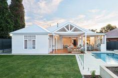 Decorating Your American Bungalow Style House Backyard Privacy, Backyard Fences, Backyard Landscaping, Backyard Bbq, Pool Fence, Pool Decks, Backyard Ideas, Landscaping Ideas, Bungalow