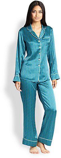 Olivia Von Halle Printed Silk Pajama Set