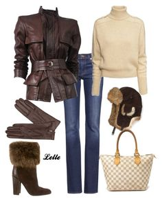 """""""Tom Ford Burgundy Leather Belted Jacket"""" by lellelelle on Polyvore featuring Tory Burch, Tom Ford, H&M, Yves Saint Laurent, Crown Cap, Dents and Louis Vuitton"""