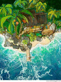 The Art Of Animation, Adrien Deggan Colorful Art, Illustration, Amazing Art, Animation Art, Fantastic Art, Design Art Drawing, Art And Architecture, Beach Art, Landscape Art