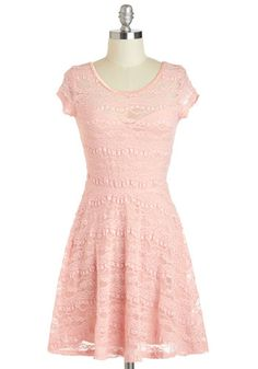 JULIE'S DRESS  --  Frilly Friday Dress - Pastel, Sheer, Short, Pink, Solid, Lace, Party, A-line, Short Sleeves, Scoop, Daytime Party