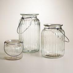 Take Mason Jars a step more elegant with these Jars   Lantern style Candleholder or vase.  {World Market} Clear Ribbed Glass Lantern Candleholder   World Market $2.50 to $7.00