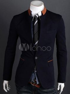 Dark Navy Patchwork Cotton Man's Casual Suits