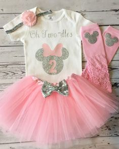 Pink and Silver Oh Twodles Minnie Mouse 2nd Birthday Shirt f942679f5d99