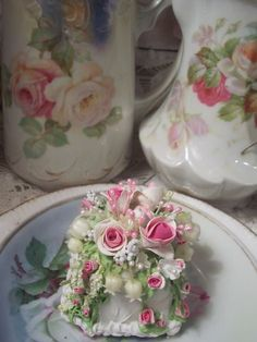Fake Food Slice of Cake Shabby Pink Roses Victorian HP