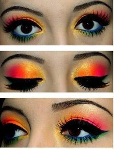 a nice hawiian theme of makeup . girls go buy some orange and pinkish color if make up cause this would look goooood on you !!!