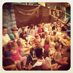 """""""The Treasure Seeker"""" VBS 2013. We built a giant pirate ship inside the sanctuary. The kids loved it!"""