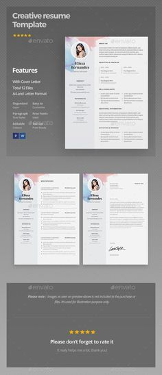 Buy Resume Template by ElissaBernandes on GraphicRiver. Creative Resume Template This resume is the super clean, modern and professional resume template to put your applicat. Cv Tips, Resume Tips, Resume Cv, Resume Writing, Resume Examples, Sample Resume, Template Cv, Resume Design Template, Creative Resume Templates