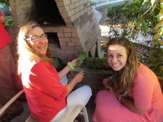 Hermana Aguilera and I preparing the nopales :) yum
