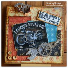 Men's card Card Tags, I Card, Scrapbooking, Birthday, Happy, How To Make, Crafts, Car, Birthdays