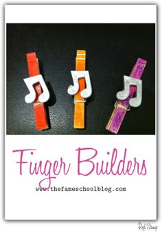 Here is a simple tool you can use to help young piano students develop stronger fingers and increase their fine motor skills. Yes, the basic clothespin can do this! I dressed mine up so that it wou… Piano Games, Piano Songs, Music Games, Piano Lessons For Kids, Music Lessons, Violin Lessons, Piano Exercises, Piano Teaching, Learning Piano