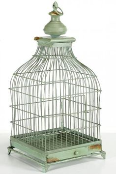 FOR ESCORT CARDS: Pin Escort Cards to this French Distressed Bird Cage - get more bird theme wedding ideas at www.3d-memoirs.com