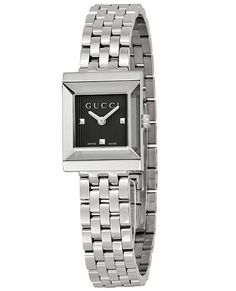 7452c3b772d Gucci G-Frame Black Guilloche Dial Stainless Steel Ladies Watch
