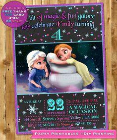 Frozen Birthday Invitation, Frozen Birthday party Frozen Invite Anna Elsa as kids invitation Frozen Printable Invitation FREE THANK YOU card