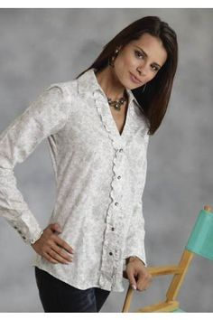 Women's Grey Roper 7851 Sage Paisley Ladies Amarillo Collection Western Wear