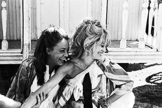 "Jeanne Moreau and Brigitte Bardot on the set of ""Viva Maria!"" (Louis Malle, 1965) via Le Cinéma on Twitter"
