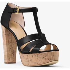 MICHAEL Michael Kors Mercer Cork Platform Leather Sandal ($84) ❤ liked on Polyvore featuring shoes, sandals, platform sandals, chunky-heel sandals, block heel shoes, michael michael kors shoes and leather platform sandals