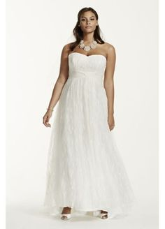 Strapless Lace Sheath Plus Size Wedding Dress  9KP3696