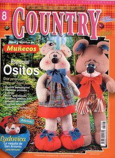 bienvenidas country munecos 2004 n08 - REVISTAS DIVERSAS - Picasa Web Albümleri Fabric Crafts, Sewing Crafts, Estilo Country, Book Crafts, Craft Books, Magazine Crafts, Black Bear, Needlework, Teddy Bear