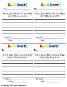 Behavior Cards: Good News!!  Positive notes to send home