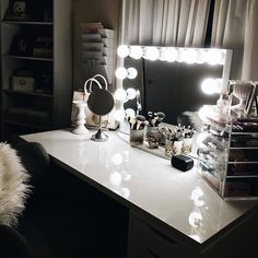 How enchanting This glamorous setup from @britneydelsol has us dreaming in perfect lighting tonight! Featured: #ImpressionsVanityGlowXLPlus IKEA Linnmon table top IKEA Alex drawers. P.S. Tonight is the last chance to save up to 20% off during our Memorial Day Sale! Link in bio.