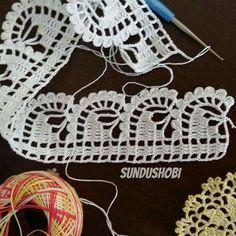 Ideas For Knitting Cardigan Lace Crochet Patterns Crochet Boarders, Crochet Edging Patterns, Crochet Lace Edging, Crochet Motifs, Crochet Squares, Crochet Stitches, Knitting Patterns, Filet Crochet, Art Au Crochet