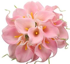 Duovlo Calla Lily Bridal Wedding Bouquet Lataex Real Touch Artificial Flower Home Party Decor (Pink) Calla Lily Flowers, Hot Pink Flowers, Silk Flower Bouquets, Silk Flower Arrangements, Fake Flowers, Artificial Flowers, Silk Flowers, Calla Lilies, Wedding Vases