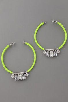 Noir Jewelry Neon Crystal Hoop Earrings