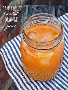 Cantaloupe Carrot Orange Juice: 3 carrots,  1 large naval orange,  3/4 of a half a cantaloupe