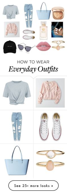 """""""Everyday city outfit! ✨"""" by georgiecunningham on Polyvore featuring Topshop, T By Alexander Wang, American Eagle Outfitters, Kate Spade, Converse, Tory Burch, Accessorize and Lime Crime"""