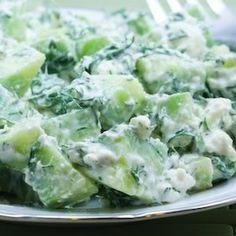 Cucumber and Yogurt Salad with Feta and Dill Recipe Salads with cucumber, leaves, fat free greek yogurt, feta cheese crumbles, salt, ground black pepper