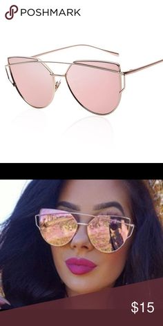 Rose gold mirrored sunglasses Mirrored sunglasses .. Worn only once. Thought I would wear them all the time... Super cute glasses, I just want a darker pair Accessories Sunglasses