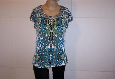 EAST 5TH Shirt Top M Swirled Scoop Neck Spandex Stretch Short Sleeve Womens #East5th #KnitTop #Casual