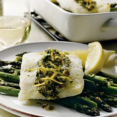 Oven-Roasted Alaska Cod Gremolata--Could use any firm, white fish (nico) Cooking Wine Recipes, Kosher Recipes, Healthy Recipes, Healthy Food, Gremolata Recipe, Alaska Seafood, Roasted Cod, Recipe Finder, Frozen Meals