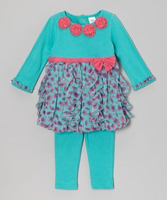 Another great find on #zulily! Teal Bubble Dress & Leggings by Baby Essentials #zulilyfinds
