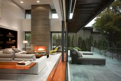 Terrace, Living Space, Fireplace, Impressive Modern Home in Toronto, Canada