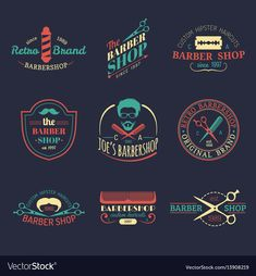 Set of vintage hipster barbershop logos Royalty Free Vector Related posts:In San Diego and need a mobile barber shop to come to you? T Shirt Logo Design, Game Logo Design, Barber Logo, Barber Shop, Hipster Haircut, Barbershop Design, Vintage Hipster, Pinstriping, Shop Logo