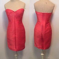 BCBG MaxAzria Coral Bandage Dress NWT NWT bandage dress with zipper back BCBGMaxAzria Dresses Strapless