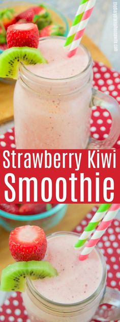 Easy on the go breakfast recipe. Strawberry Kiwi Smoothie #smoothie #recipe #breakfast Strawberry Kiwi Smoothie, Yogurt Smoothies, Good Smoothies, Smoothie With Kiwi, Smoothie Bowl, Morning Smoothies, Energy Smoothies, Breakfast Smoothie Recipes, Fruit Smoothie Recipes