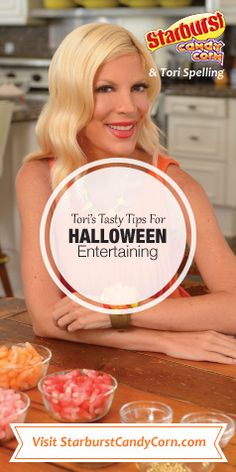Sweet! Starburst Candy Corn & Tori Spelling created Tasty Tips for Halloween Entertaining!