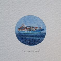 Day 3 : Container ship (one of my favourite things) . 29 x 29 mm.